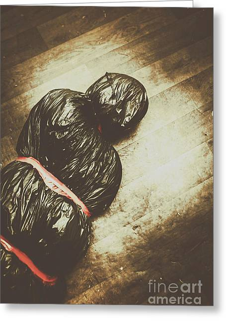 Tied And Wrapped Up Body In Garbage Bags Greeting Card by Jorgo Photography - Wall Art Gallery