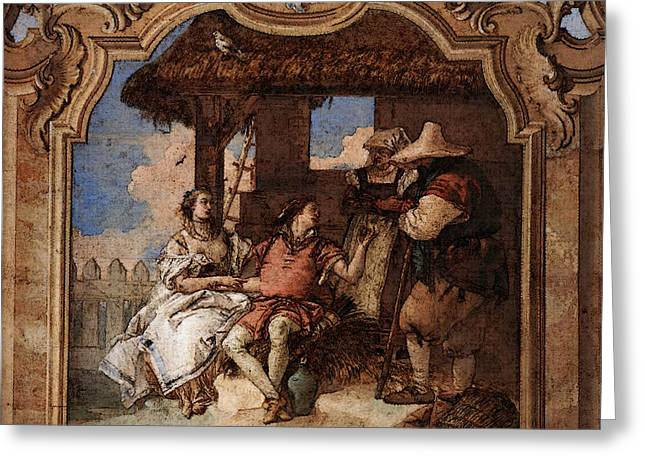Tiepolo Villa Valmarana Angelica And Medoro With The Shepherds Greeting Card by Giovanni Battista Tiepolo