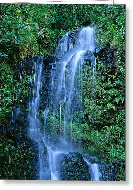 Tiered Waterfall Greeting Card by Bill Brennan - Printscapes