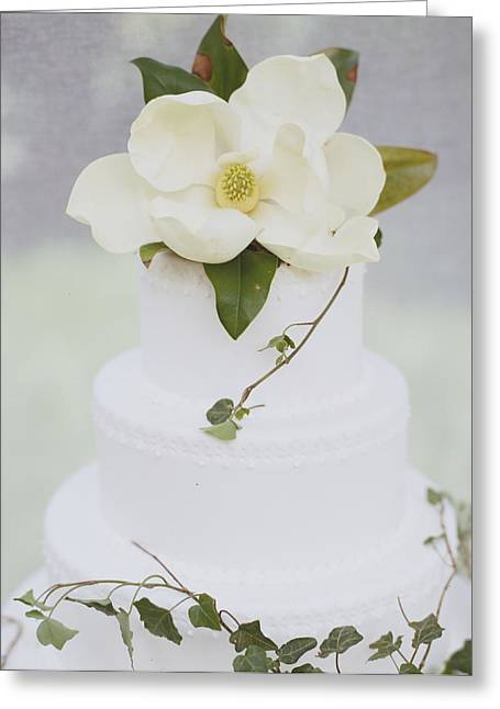 Tiered Wedding Cake With Flower On Top Greeting Card