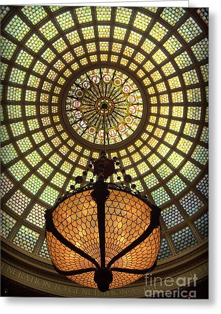 Tiffany Ceiling In The Chicago Cultural Center Greeting Card