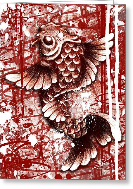 Tiffy Koi Greeting Card by Michael Figueroa