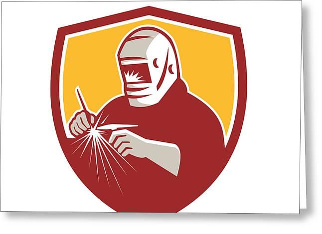 Tig Welder Welding Crest Retro Greeting Card by Aloysius Patrimonio