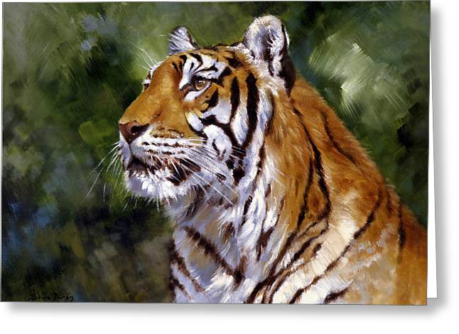 The Tiger Greeting Cards - Tiger Alert Greeting Card by Silvia  Duran