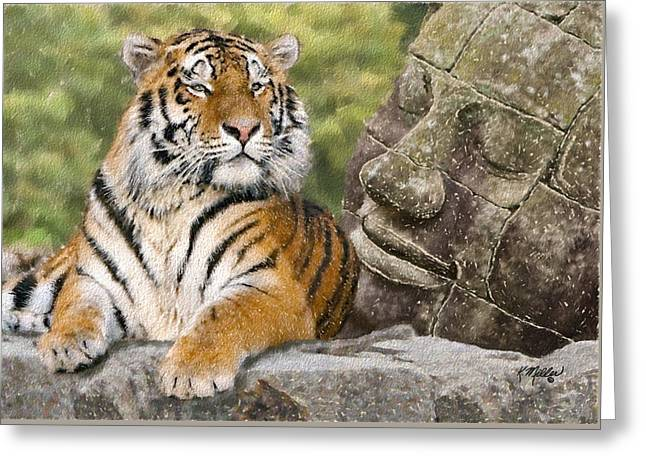Tiger And Buddha Greeting Card by Kathie Miller