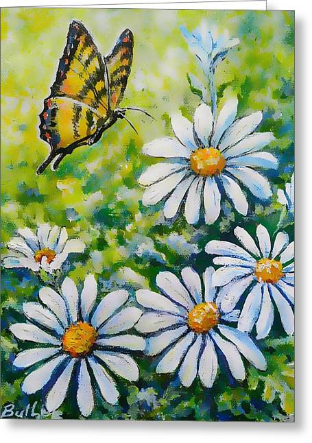 Tiger And Daisies  Greeting Card