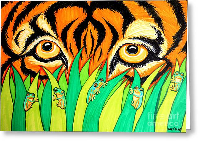 Tiger Drawings Greeting Cards - Tiger and Frogs Greeting Card by Nick Gustafson