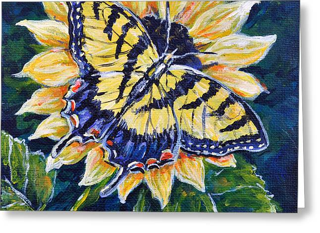 Tiger And Sunflower Greeting Card by Gail Butler