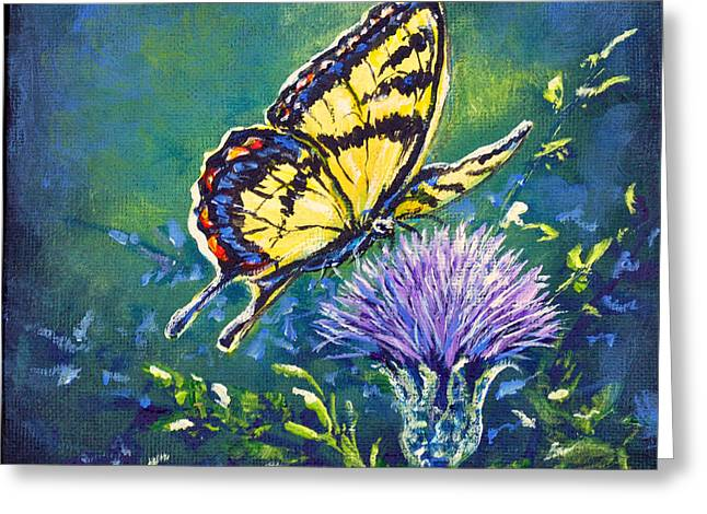 Tiger And Thistle 1 Greeting Card by Gail Butler