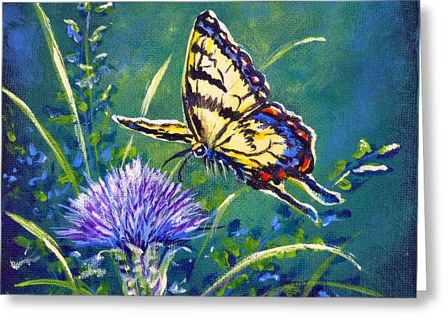 Tiger And Thistle 2 Greeting Card by Gail Butler