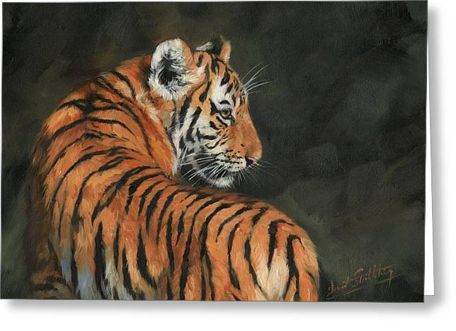 Greeting Card featuring the painting Tiger At Night by David Stribbling