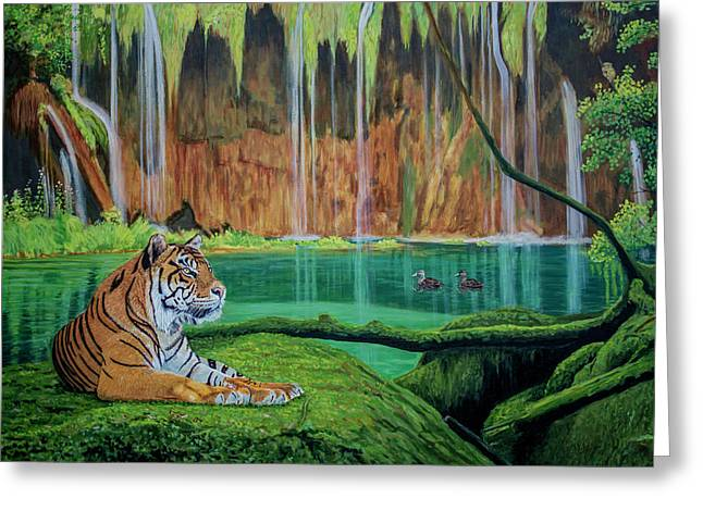 Tiger At The Waterfall  Greeting Card by Manuel Lopez