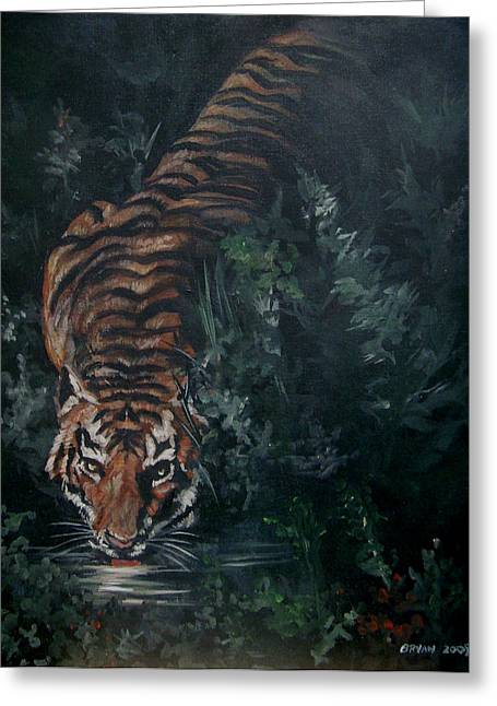 Greeting Card featuring the painting Tiger by Bryan Bustard