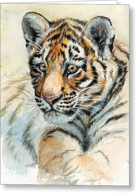 Tiger Cub Portrait 865 Greeting Card by Svetlana Ledneva-Schukina