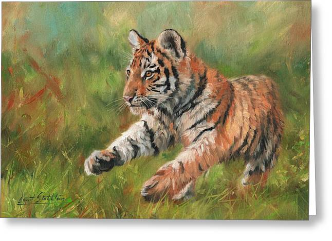 Tiger Cub Running Greeting Card by David Stribbling