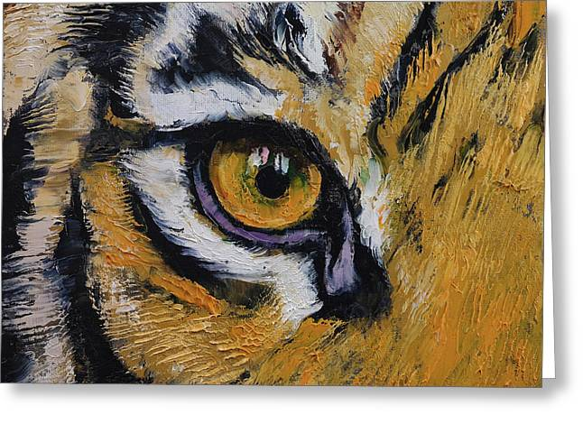 Tiger Eye Greeting Card by Michael Creese