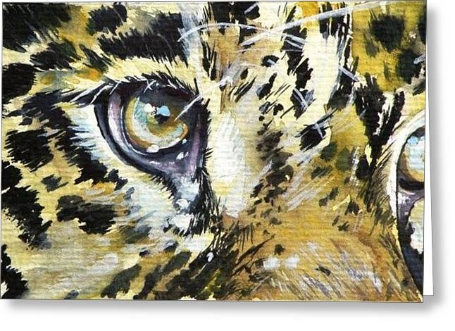 Greeting Card featuring the painting Tiger Eyes by Kovacs Anna Brigitta