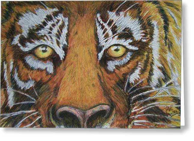 Tiger Eyes Greeting Card by Patricia R Moore