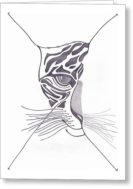 Tiger Face Greeting Card by 2nd Planet Left