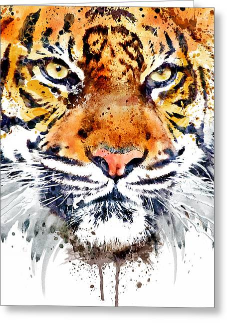 Tiger Face Close-up Greeting Card by Marian Voicu