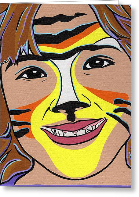 Tiger Girl Greeting Card by Lucia  Perez