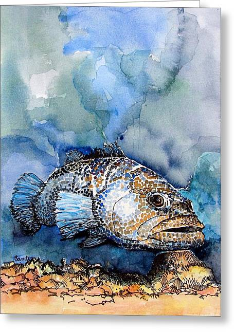 Greeting Card featuring the painting Tiger Grouper by Terry Banderas