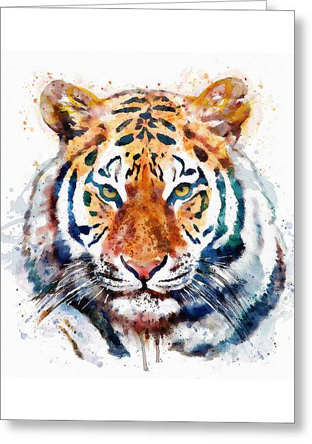Tiger Head Watercolor Greeting Card by Marian Voicu