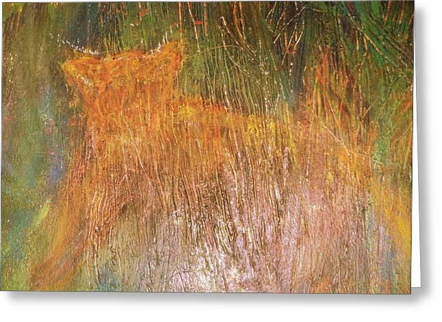 Tiger Hiding Greeting Card by Anne-Elizabeth Whiteway