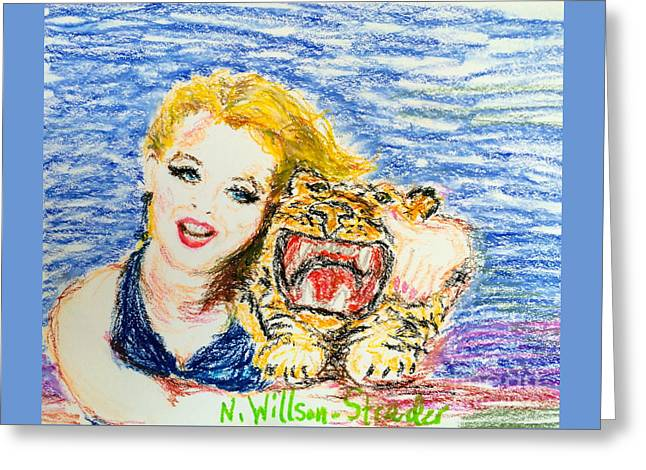 Tiger Hug Greeting Card by N Willson-Strader