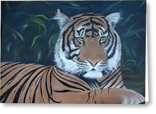 The Tiger Hunt Greeting Cards - Tiger in the Jungle Greeting Card by Deby Kalush