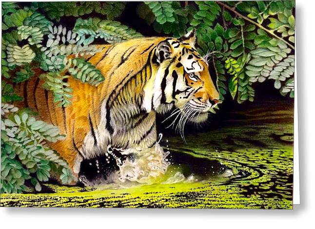 Tiger In The Sunderban Delta Greeting Card