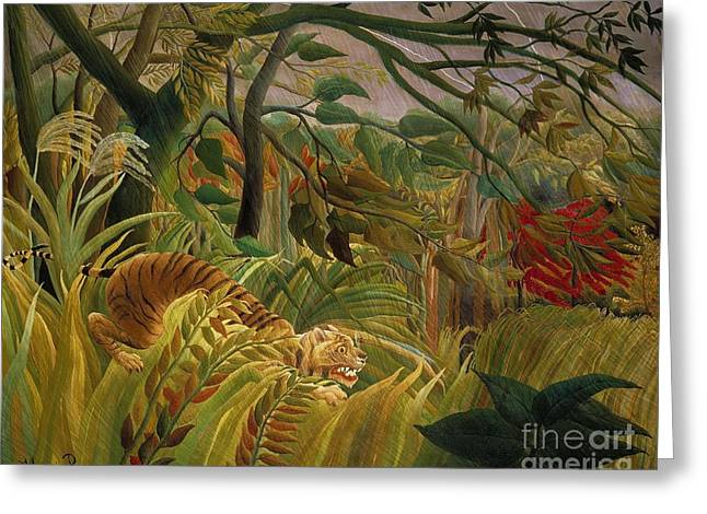 Tiger In Tropical Storm Greeting Card