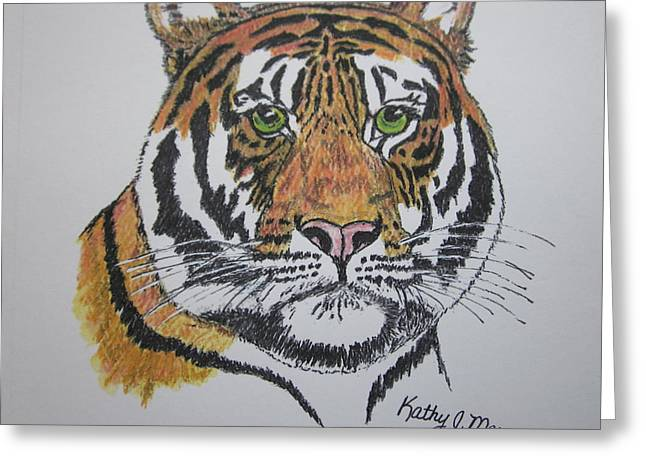 Greeting Card featuring the painting Tiger by Kathy Marrs Chandler