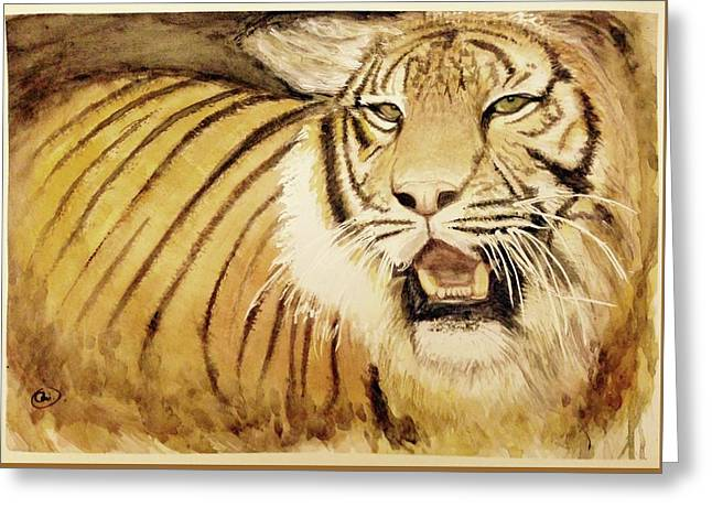 Tiger King Greeting Card by Annie Poitras