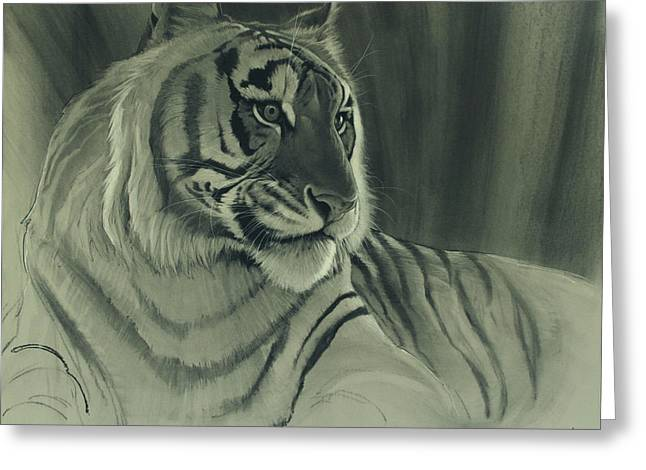 Tiger Light Greeting Card by Aaron Blaise