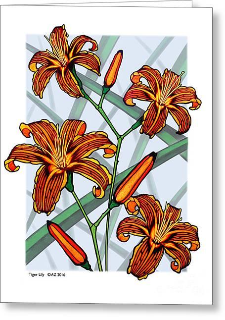 Tiger Lilies Greeting Card by David Azzarello