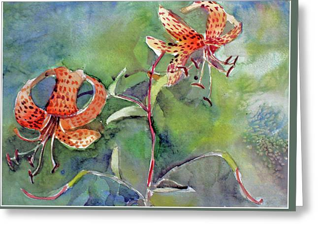 Greeting Card featuring the painting Tiger Lilies by Mindy Newman