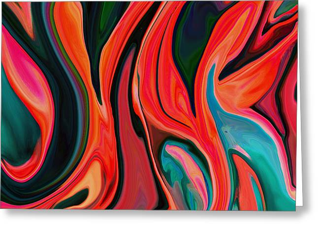 Tiger Lily Abstract Greeting Card by Linnea Tober
