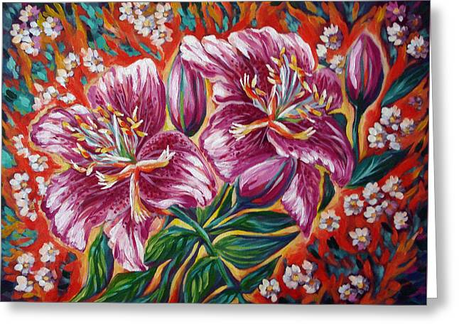 Tiger Lily Greeting Card by Katreen Queen
