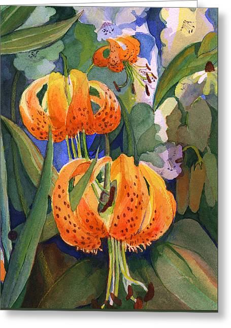 Tiger Lily Parachutes Greeting Card by Nancy Watson