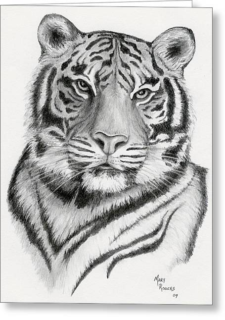 Tiger Greeting Card by Mary Rogers