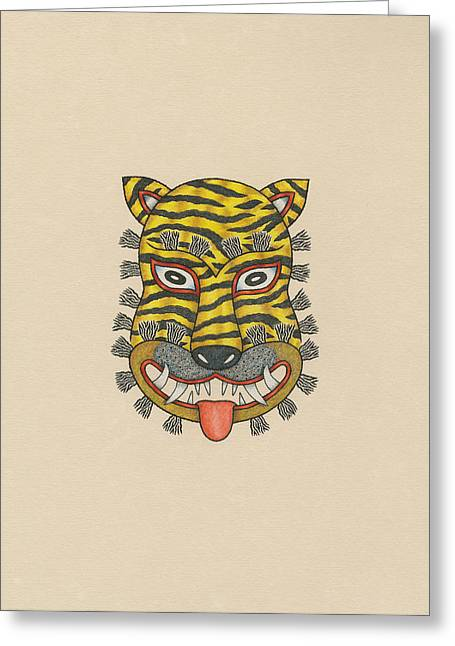 Tiger Mask Of The Folk Tradition Greeting Card by Matt Leines