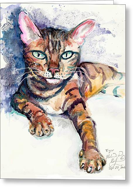 Tiger Greeting Card by Melinda Dare Benfield