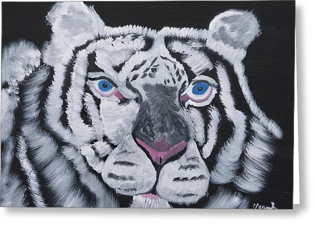 White Tiger Thoughts Greeting Card by Meryl Goudey
