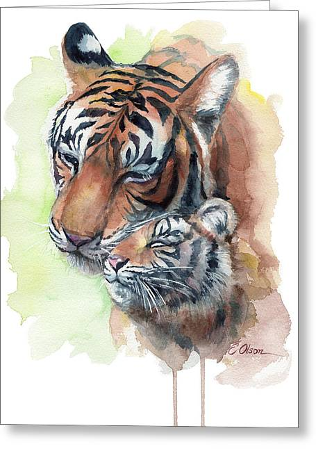 Tiger Mom And Cub Greeting Card
