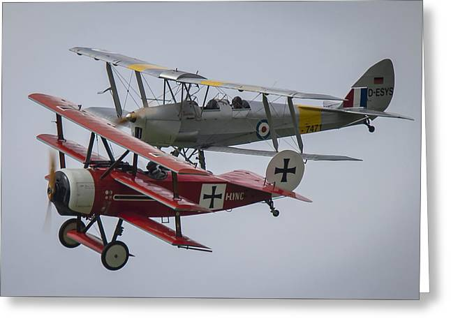 Tiger Moth And Fokker Dr1 Formation Greeting Card by Roberto Resnigo
