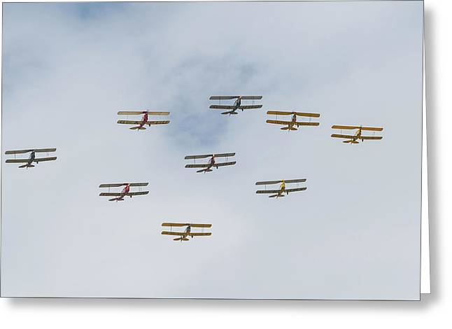 Greeting Card featuring the photograph Tiger Moth Formation by Gary Eason