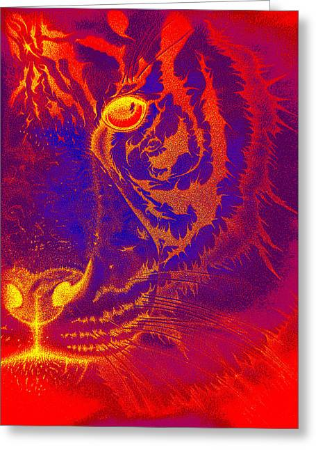 Tiger On Fire Greeting Card by Mayhem Mediums