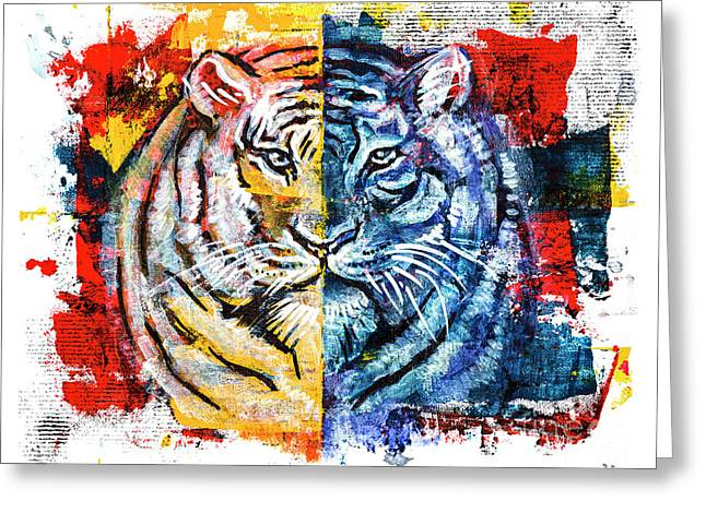 Greeting Card featuring the painting Tiger, Original Acrylic Painting by Ariadna De Raadt