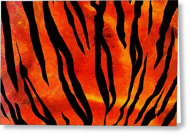 Tiger Pattern Square 2 Greeting Card by Edward Fielding